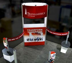 Custom trade show exhibit structures, like design # 324936 stand out on the convention floor. Draw eyes to your trade show booth with exciting custom exhibits & displays. We can customize any trade show exhibit or display to your specifications.