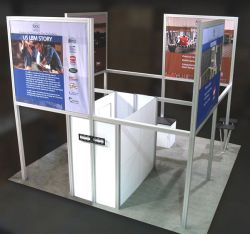 Custom trade show exhibit structures, like design # 325311 stand out on the convention floor. Draw eyes to your trade show booth with exciting custom exhibits & displays. We can customize any trade show exhibit or display to your specifications.
