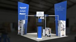 Custom trade show exhibit structures, like design # 325683 stand out on the convention floor. Draw eyes to your trade show booth with exciting custom exhibits & displays. We can customize any trade show exhibit or display to your specifications.