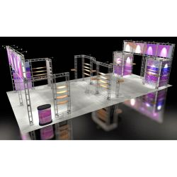 This Larger custom trade show truss system will help you stand out at the next trade show, drawing attention from across the exhibit floor.  Truss exhibits are one of the most structurally elaborate trade show displays.  They are popular with exhibitors