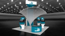 Custom trade show exhibit structures, like design # 53192 stand out on the convention floor. Draw eyes to your trade show booth with exciting custom exhibits & displays. We can customize any trade show exhibit or display to your specifications.