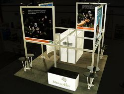 Custom trade show exhibit structures, like design # 54387 stand out on the convention floor. Draw eyes to your trade show booth with exciting custom exhibits & displays. We can customize any trade show exhibit or display to your specifications.