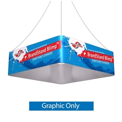 8ft x 24in Blimp Square Hanging Banner - Single Sided Print Only. BrandStand Blimp Quad hanging banner frame has four sides to advertise on and is the largest available. This unit is perfect for Convention Centers, Retail Stores, Tradeshows, Malls