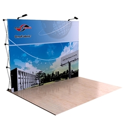 10ft OneFabric Straight Tension Fabric Popup Trade Show Display without End Caps represent one of the newest innovations in pop-up displays. It combines the easy setup of pop-up displays with the latest technology in digitally printed fabric graphics.