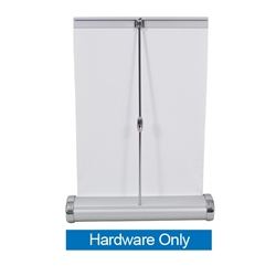 The 8.25inW x 11.75inH Small Mini Promo Retractor Table Top Banner Hardware offers the ability to show your message on both sides of the display. When not in use the base protects your graphics as you move from place to place.