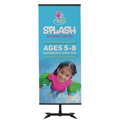 3ft x 7ft Base-X Banner Display Kit - Single-Sided. This banner display makes use of the fold-out feet from our popular FrameWorx line to create a stylish look with a small footprint.