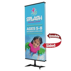 3ft x 7ft Base-X Banner Display Kit - Double-Sided. This banner display makes use of the fold-out feet from our popular FrameWorx line to create a stylish look with a small footprint.