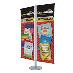 4ft x 6ft Flex Double-Banner Display Kit. This display's versatile central post can be customized with banners and lit racks. We've created three kits to get started, but add-ons are interchangeable so you can create your own configuration.