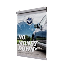 2ft x 2ft Pulldown Hanging Banner Display Kit. Once installed, this display lets you swap out hanging banners without a ladder.