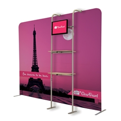 2ft x 7ft EuroFit Cascade Shelf Merchandiser Kit. This Merchandiser kit adds a monitor and two shelves to a EuroFit Wall.