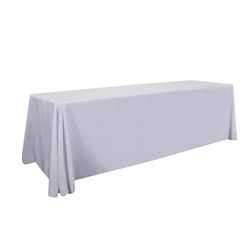8ft Stain Resistant Economy Throw Unimprinted sit comfortably behind your table with this open back design. Custom table throws and logo table runners will give your booth a tidy appearance that will draw in attendees