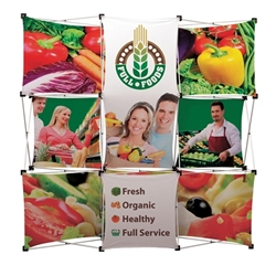 Geometrix 8ft x 8ft Fabric Popup Display with 8 banners Is one of the more unique product offerings at xyzDisplays but has been a huge hit. Xpressions series offers many of the features the exhibitors look for in a high quality fabric backwall displays