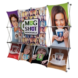 10ft Deluxe Geometrix 3-D Tension Fabric PopUp Display Kit 12-quad with Full Fabric Graphics and Double-Sided Backwall. Eliminate background distractions and bring focus to your graphic banners includes a blockout liner for double-sided printing.