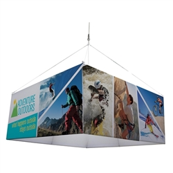 8ft Square EuroFit Fabric Hanging Banner Kit. 8ft EuroFit Square Banner Kit is the model of international design. Hanging sign, tradeshow graphic is available in 3 different designs: triangle, square, and round. Your message is viewable 360-degrees