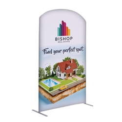 4ft x 7ft EuroFit Arc Kit. These double-sided displays weigh 75% less than standard pop-up displays.