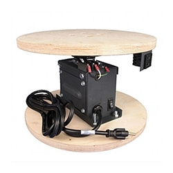TS-150 Trade Show Rotator designed for easy setup at a tradeshow, this unit is ready to go out of the box.  It comes with an electrical cord for easy plug-in, a switch for changing direction easily, a rotating power outlet, and wooden mounting surfaces