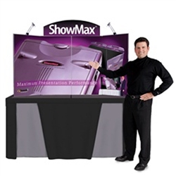 Everything you need to make your next tradeshow, presentation, or exhibit a resounding success is available in one package. The ShowMax Tabletop Display sets up in less than a minute, comes complete with two 50w halogen lights