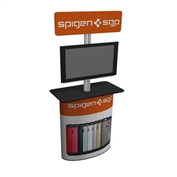 Solo Pronto Post Counter with 32in Screen Mount & Header  will serve perfectly as a workstation and mount for your monitor at your next trade show or retail display.  The header sign will serve as a great marketing tool.