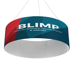 8ft x32in Single Sided MAKITSO Blimp Circle Hanging Tension Fabric Banner. It's easy for trade show booths to get lost in the crowd. Create excitement and make your booth more visible by displaying our custom Ceiling Hanging Banner Displays