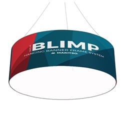8ft x36in Single Sided Blank Bottom MAKITSO Blimp Circle Hanging Tension Fabric Banner. It is easy for trade show booths to get lost in the crowd. Create excitement and make your booth more visible by displaying our custom Ceiling Hanging Banner Displays