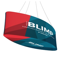 10ft x 24in MAKITSO Blimp Ellipse Hanging Tension Fabric Banner with Printed Bottom. Hanging Banner Displays: high-quality print graphic, lightweight aluminum frame, largest variety of Ellipse Hanging signs for trade shows.