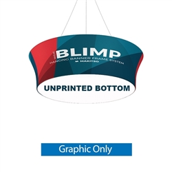 10ft x 48in MAKITSO Blimp Tube Tapered Hanging Tension Fabric Banner With Blank Bottom Graphic Only. Blimp series of hanging signs for trade show made from light aluminum, wrapped in a vibrant dye-sublimation graphic print. Hang overhead from ceilings