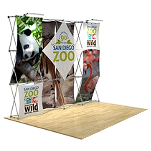 10ft x 90in 3D Snap Fabric Display Layout 2 with Square Hard Case is unique product offering for Trade Show. The Xpressions series offers many of the features the exhibitors look for in a high quality trade show pop up background displays