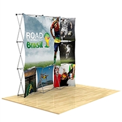 8ft x 8ft 3D Snap Tension Fabric Display Kit 5 with Square Hard Case is unique product offering for Trade Show. The Xpressions series offers many of the features the exhibitors look for in a high quality trade show pop up background displays