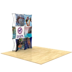 5ft x 7.5ft 3D Snap 2x3 Design 4 Stretch Fabric Display Kit with custom made dye-sublimation fabric graphics for trade shows and exhibits. Xpressions SNAP displays, pop-up trade show exhibits really grab attention with their unique 3D look.