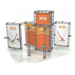 20ft x 20ft Island Jupiter Orbital Express Truss Display with Fabric Graphic is the next generation in dynamic trade show exhibits. Jupiter Orbital Express Truss Kit is a premium trade show display is designed to be used in a 20ft x 20ft exhibit space