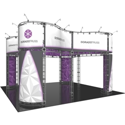 20ft x 20ft Island Dorado Orbital Express Truss Display with Fabric Graphic is the next generation in dynamic trade show exhibits. Dorado Orbital Express Truss Kit is a premium trade show display is designed to be used in a 20ft x 20ft exhibit space
