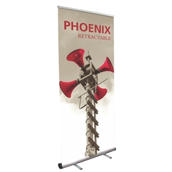 34in Phoenix Silver Retractable Banner Stand w/ Vinyl Banner is best selling made in the USA banner stand trade show display. The Phoenix Retractable Banner has become a market leader, proving its dependability show after show.