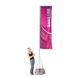 Single-Sided Flag for 17ft Wind Dancer Outdoor Banner Stand. Wind Dancer comes with a hollow base allowing the option of adding either water or sand as a weighting agent. The constructed units are easy to position, erect and remove. Carry bag option