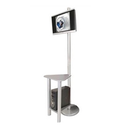 Tradeshow Monitor Kiosk - Monitor Stand - Linear Kit 4. The Linear Monitor Kiosk is the perfect complement to your linear back wall displays. Adding excitement and attention to your trade show booth with these sleek attractive Linear Monitor Kiosk