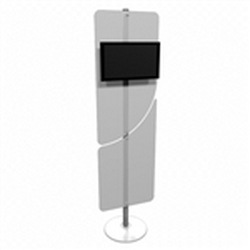Linear Monitor Trade Show Kiosk Kit  Compliment your Linear Trade Show Display while adding excitement and attention to your trade show booth with these Monitor Stand Multi Media Kiosk with Frosted Plex wings Linear Kit
