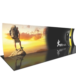 30ft Formulate Designer Series Vertical Curved Backwall Tension Fabric Display Kit 04 offer you a quick and professional look for your trade show booth. Formulate Designer Series Backwall Displays with built in counter cost-effective trade show backdrops