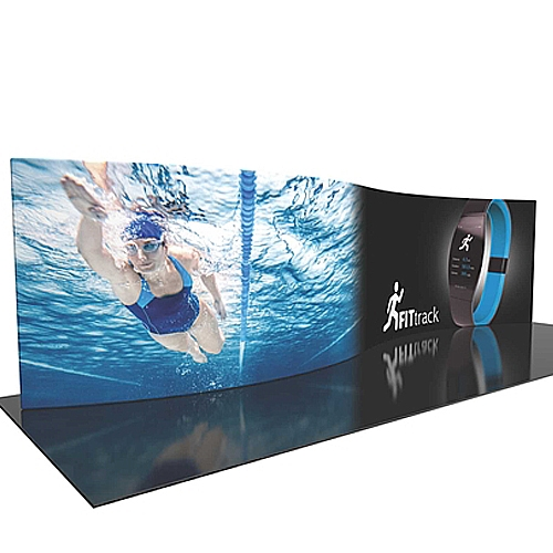 30ft Formulate Designer Series Serpentine Backwall Tension Fabric Display Kit 06 offer you a quick and professional look for your trade show booth. Formulate Designer Series Backwall Displays with built in counter cost-effective trade show backdrops