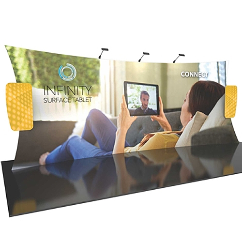 20ft Formulate Designer Series Backwall Tension Fabric Display Kit 10 offer you a quick and professional look for your trade show booth. Formulate Designer Series Backwall Displays with built in counter cost-effective trade show backdrops
