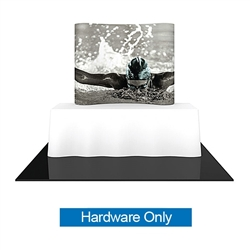 5ft x 6ft Formulate Essential Tabletop Horizontal Curve Fabric Backwall Hardware Only have customary frame features, are portable and come in Straight, Vertical Curved and Horizontal Curved options. Formulate Essential Table Top displays stand