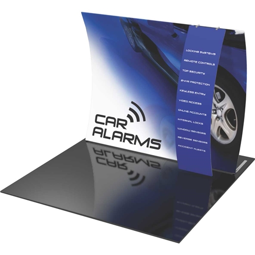 Orbus Formulate VC11 10ft Vertically Curved Fabric Backwall with Stand-off Pillowcase Graphic Ladder with stand-off pillowcase graphic ladder offers a large format graphic area to get you noticed at your events!
