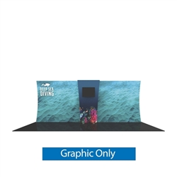 Graphic for Formulate Backwall Connector 03. Display products or literature on a Stand-Off Counter designed to complement your Formulate tension fabric display. For use with vertical curved frames only.