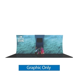 Graphic for Formulate Backwall Connector 05. Display products or literature on a Stand-Off Counter designed to complement your Formulate tension fabric display. For use with vertical curved frames only.