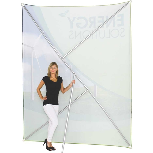 8ft Formulate Lite Backwall Display with Printed Tension Fabric offers a large format graphic area to get you noticed at your events! This straight trade show fabric display converts from portrait to landscape orientation