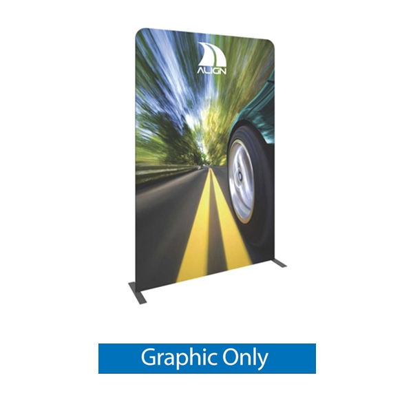 Double-Sided Graphic for Formulate Tension Fabric Essential Banner 1500 Straight features a simple straight bungee-corded tube frame and a fabric graphic that simply slips over the frame. Perfect for any environment - from retail to trade show!