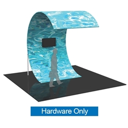 The Formulate Surf Wall Tension Fabric Graphic Display Hardware Only is a C-shaped multimedia display. With an organic, curved shape sustained by supporting legs, and a monitor mount for a monitor/TV, the Surf makes a distinctive statement in any space.