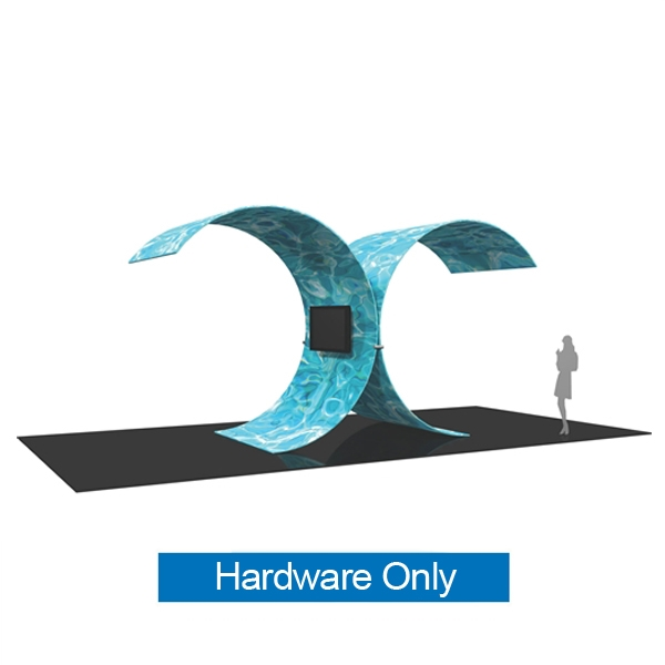 Formulate Tree Shape Wall Tension Fabric Graphic Display Hardware Only is Two C-shaped structures are fused together to create a Tree shape with this sculptural, multimedia trade show display. Pillow case  tension fabric graphics feature double sided dye-