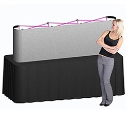 8ft Deluxe Coyote Straight Full Fabric (3x1) Tabletop Display Kits named popup because of its small to large pop-up action, this type of display system is still one of the most portable trade show exhibits
