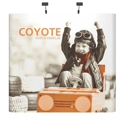 Deluxe Coyote Straight Full Graphic Muralc Pop Up Trade Show 8ft (3x3) Floor Booth combines strength and reliability with style and ease of use. Named popup because of its small to large pop-up action, this type of display system