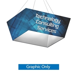 8ft x 2ft Single Sided Printed Fabric for Tapered Square Formulate Hanging Banner. The tapered, four-sided rectangle hanging banner offers a downward angled sign for your graphics and messaging from anywhere on the event and trade show floor.