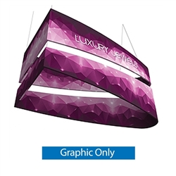 10ft x 3ft Formulate Tiered Bullet Designer Series Ceiling Double-Sided Hanging Signs are professional suspended ceiling hanging banner displays that give your booth a one of a kind look. The 3 tiered layers increase in size for a large volume design.